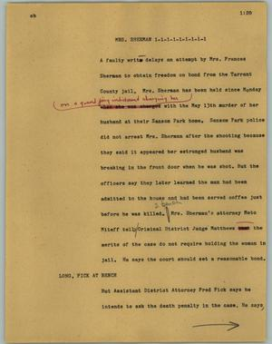 Primary view of object titled '[News Script: Mrs. Sherman]'.