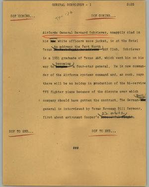 Primary view of object titled '[News Script: General Schriever]'.