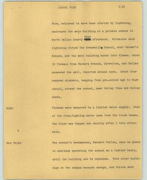 Primary view of object titled '[News Script: School fire]'.