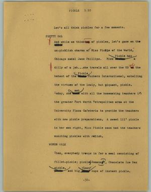 Primary view of object titled '[News Script: Pickle]'.