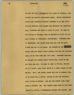 Primary view of object titled '[News Script: Kidnapper]'.