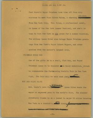 Primary view of object titled '[News Script: Mayor and gal]'.