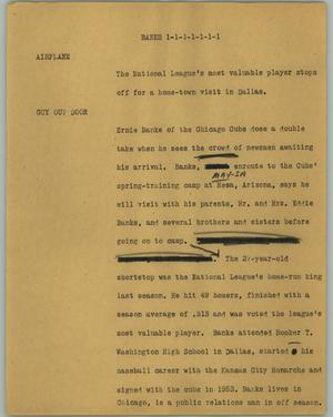 Primary view of object titled '[News Script: Banks]'.