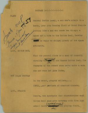 Primary view of object titled '[News Script: Pregame]'.