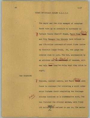 Primary view of object titled '[News Script: Hurst officials jailed]'.