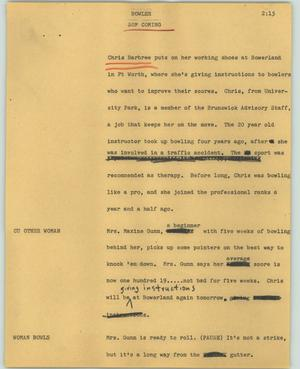 Primary view of object titled '[News Script: Bowler]'.