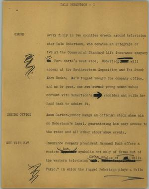 Primary view of object titled '[News Script: Dale Robertson]'.