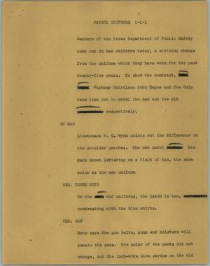 Primary view of object titled '[News Script: Patrol uniforms]'.