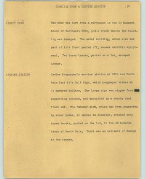 Primary view of object titled '[News Script: Carnival barn and service station]'.
