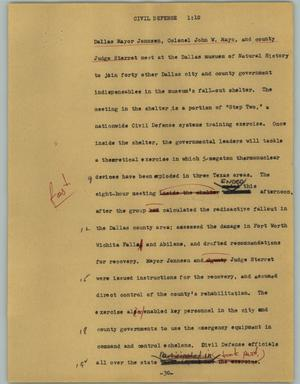Primary view of object titled '[News Script: Civil defense]'.