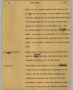 Primary view of object titled '[News Script: Radio hames]'.