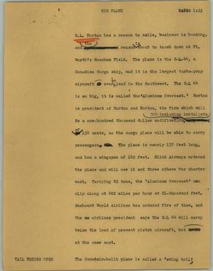 Primary view of object titled '[News Script: Big plane]'.