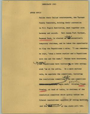 Primary view of object titled '[News Script: Democrats (FW)]'.