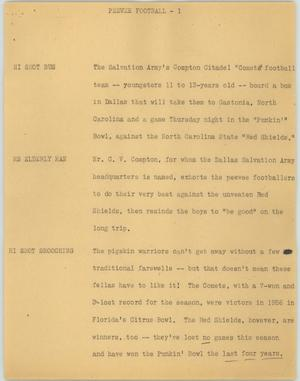 Primary view of object titled '[News Script: Peewee football]'.