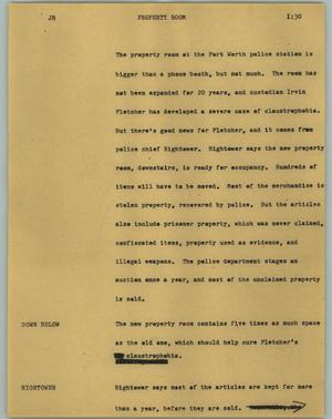 Primary view of object titled '[News Script: Property room]'.