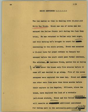Primary view of object titled '[News Script: Brock sentenced]'.