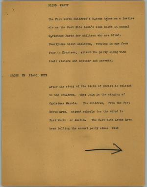 Primary view of object titled '[News Script: Blind party]'.