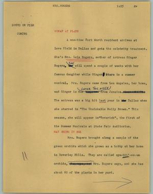 Primary view of object titled '[News Script: Mrs. Rogers]'.
