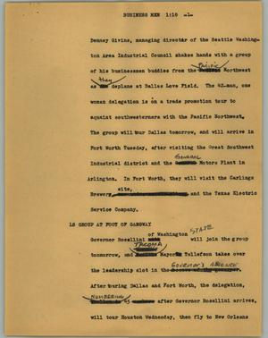 Primary view of object titled '[News Script: Business men]'.