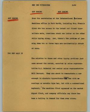 Primary view of object titled '[News Script: New IBM typewriter]'.