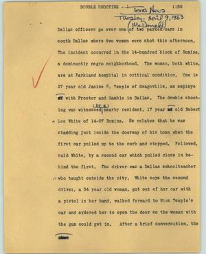 Primary view of object titled '[News Script: Double shooting]'.