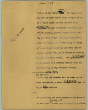 Primary view of object titled '[News Script: Cuban]'.