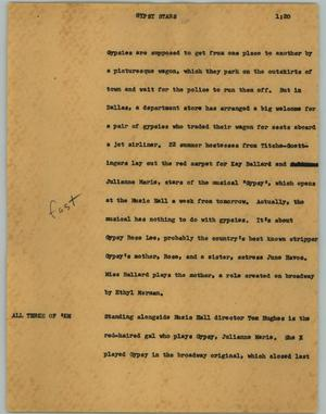 Primary view of object titled '[News Script: Gypsy stars]'.