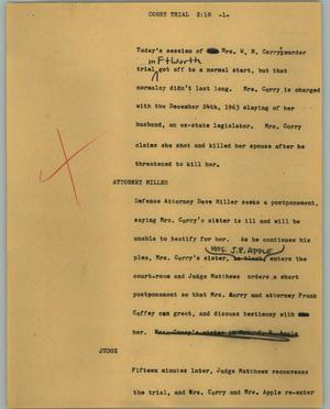 Primary view of object titled '[News Script: Corry trial]'.