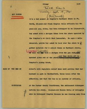 Primary view of object titled '[News Script: Kidnap]'.