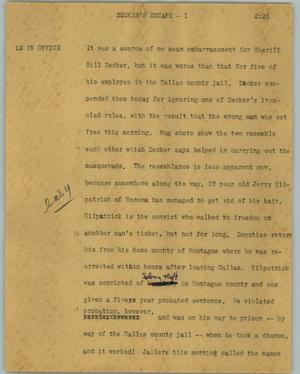 Primary view of object titled '[News Script: Decker's escape]'.