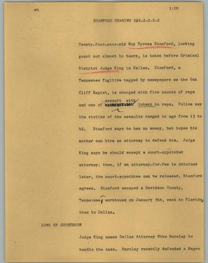 Primary view of object titled '[News Script: Stanford hearing]'.