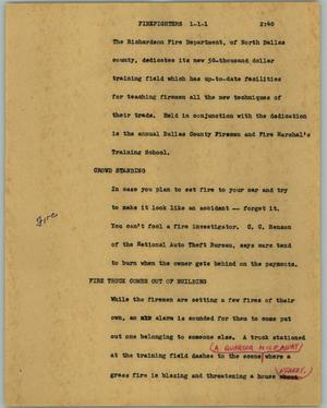 Primary view of object titled '[News Script: Firefighters]'.