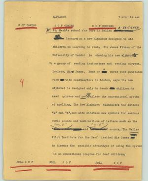 Primary view of object titled '[News Script: Alphabet]'.