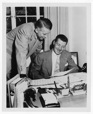 Primary view of object titled '[Stan Kenton with bandleader Charlie Barnet]'.