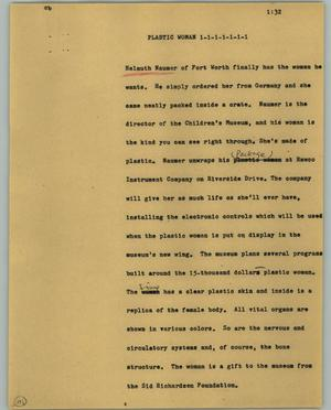 Primary view of object titled '[News Script: Plastic woman]'.