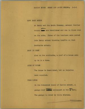 Primary view of object titled '[News Script: Marion storm Berry and South Freeway]'.