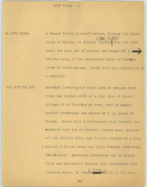Primary view of object titled '[News Script: Auto fatal]'.