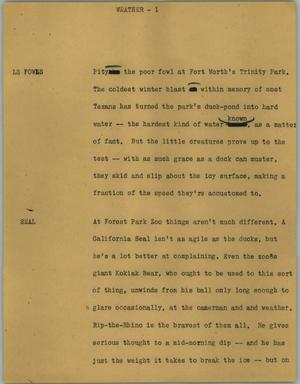 Primary view of object titled '[News Script: Weather]'.