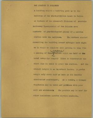 Primary view of object titled '[News Script: Gas station in ballroom]'.