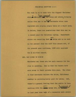 Primary view of object titled '[News Script: Christmas shopping]'.