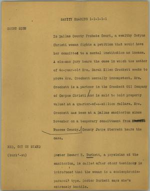 Primary view of object titled '[News Script: Sanity hearing]'.