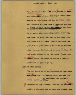 Primary view of object titled '[News Script: Jenkins makes it]'.