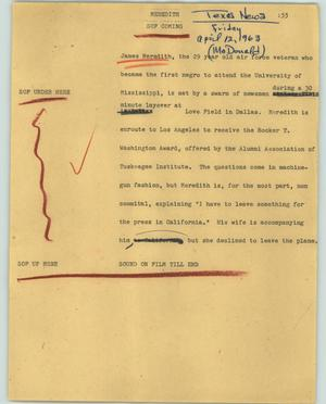 Primary view of object titled '[News Script: Meredith]'.