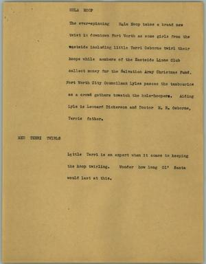 Primary view of object titled '[News Script: Hula hoop]'.