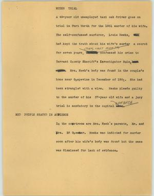 Primary view of object titled '[News Script: Meeks trial]'.