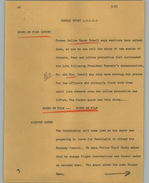 Primary view of object titled '[News Script: Cabell story]'.