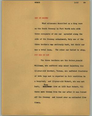 Primary view of [News Script: Wreck]