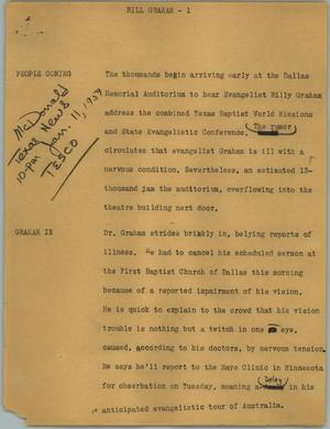 Primary view of object titled '[News Script: Bill Graham]'.