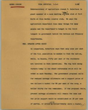 Primary view of object titled '[News Script: USDA officials]'.