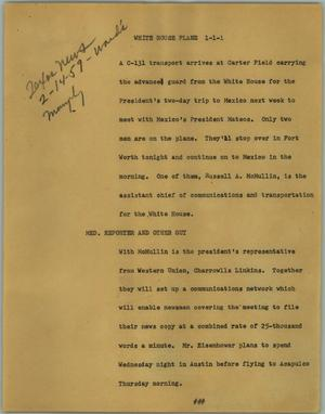 Primary view of object titled '[News Script: White House plane]'.
